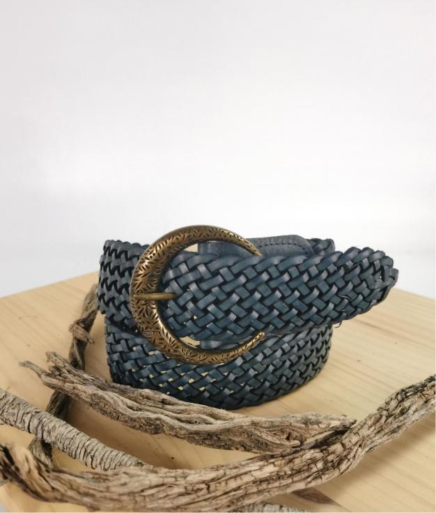 Cinturón de piel Stellina - azul