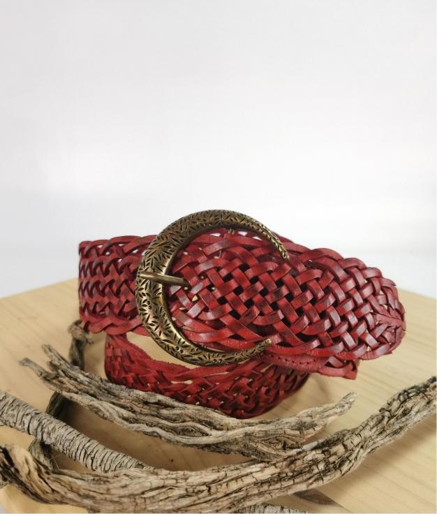 Cinturón de piel Stellina - rojo