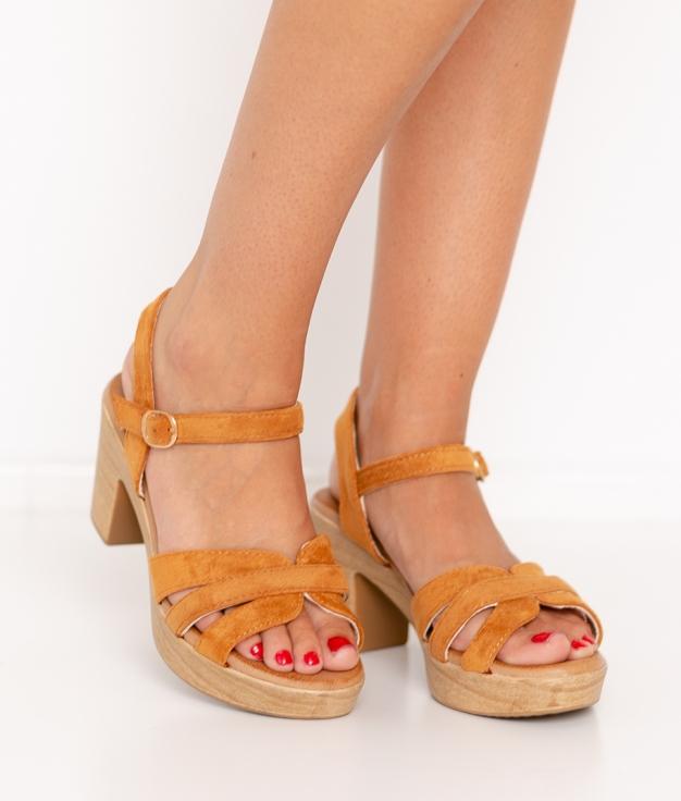 Sandalia de Tacón Polka - Camel