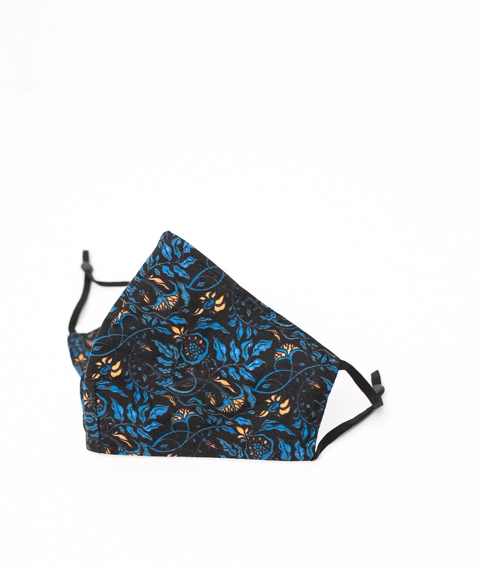 Mascarilla Flores - Azul/Amarillo
