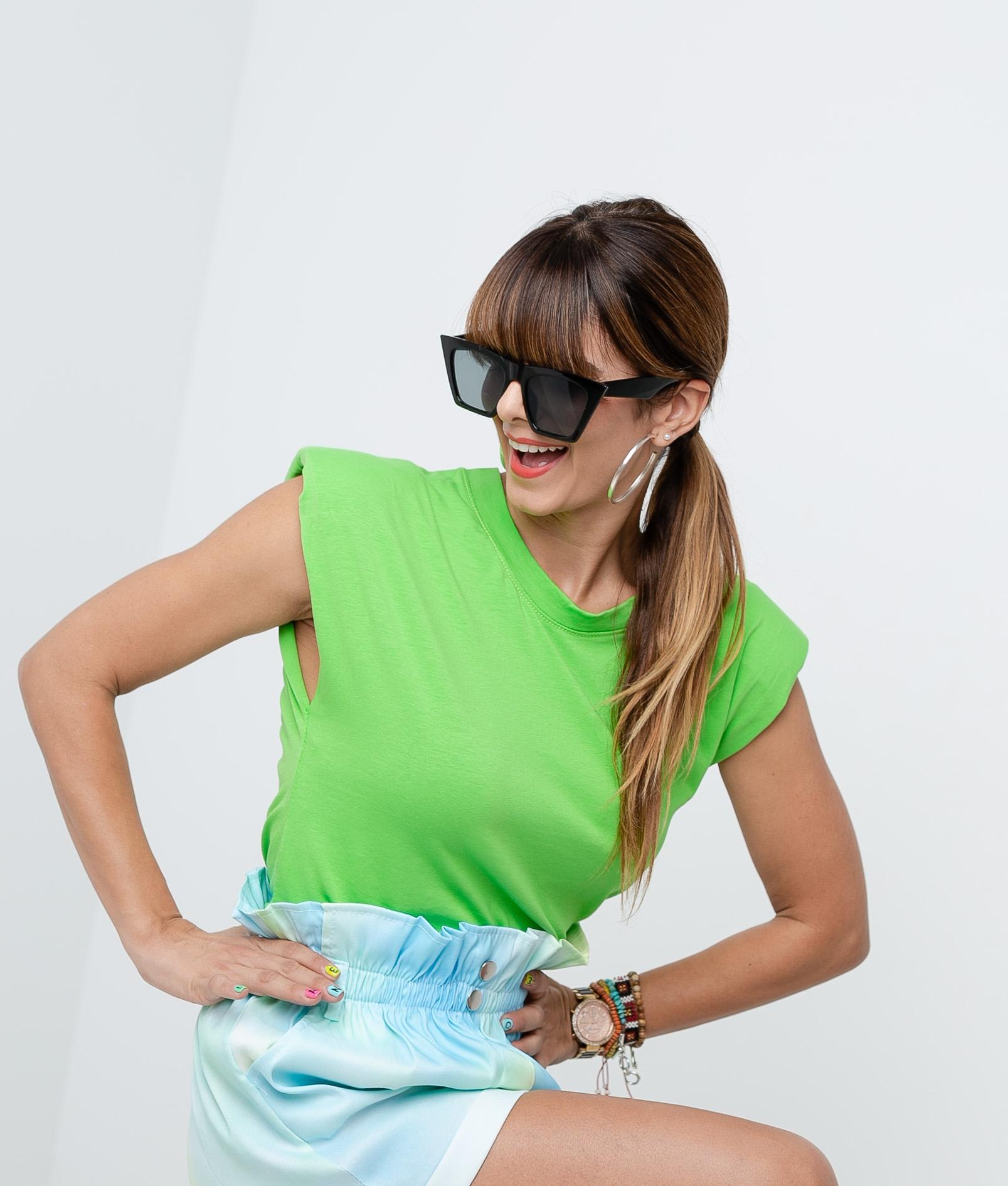 Camiseta California Hombreras - Verde fluor
