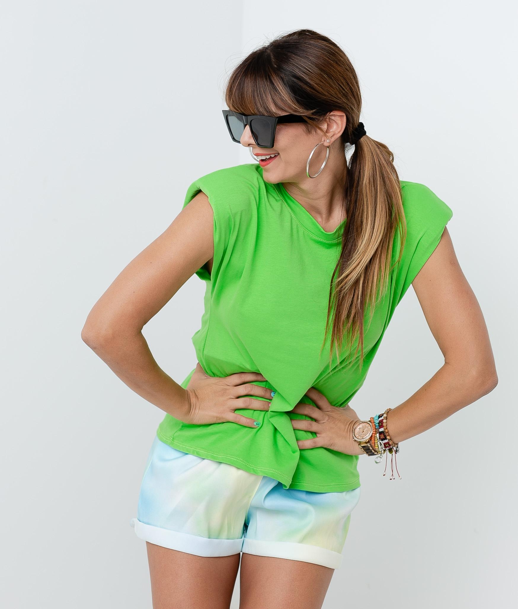 Chemise California Épaulettes - Vert fluorescent