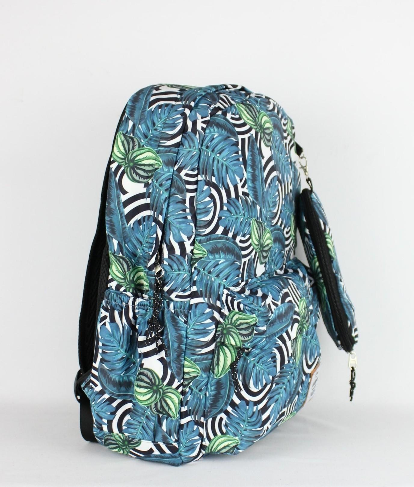 Mochila Just - Folhas Turquoise