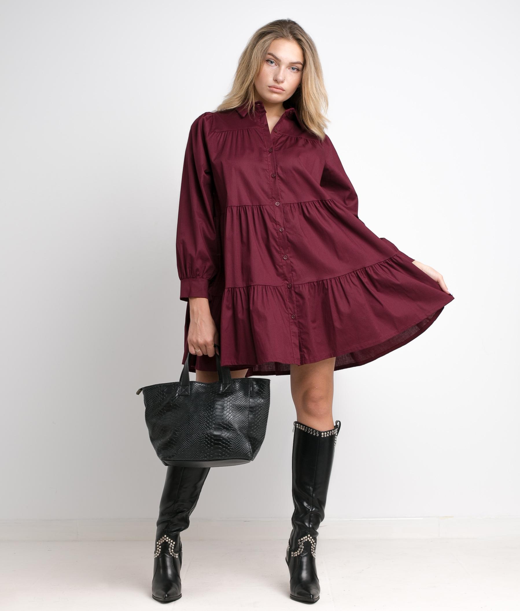 ARCONA DRESS - MAROON