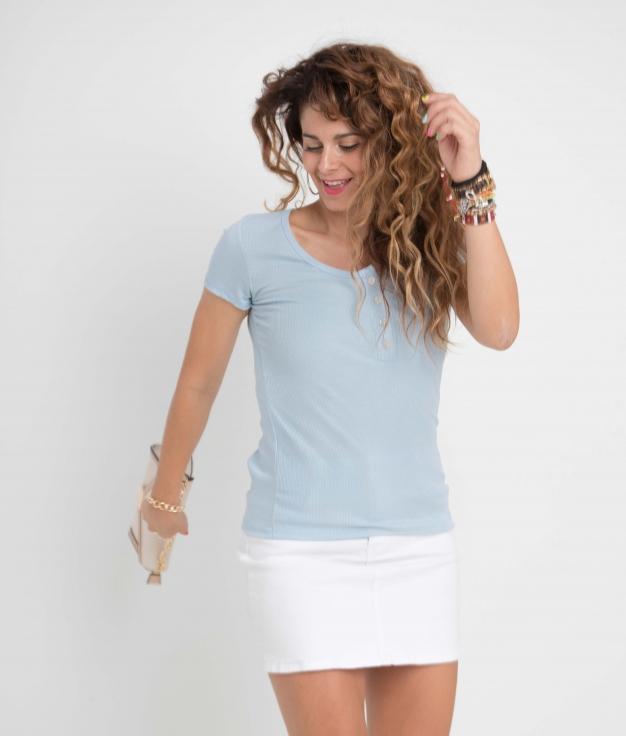 Camiseta Pinki - Celeste