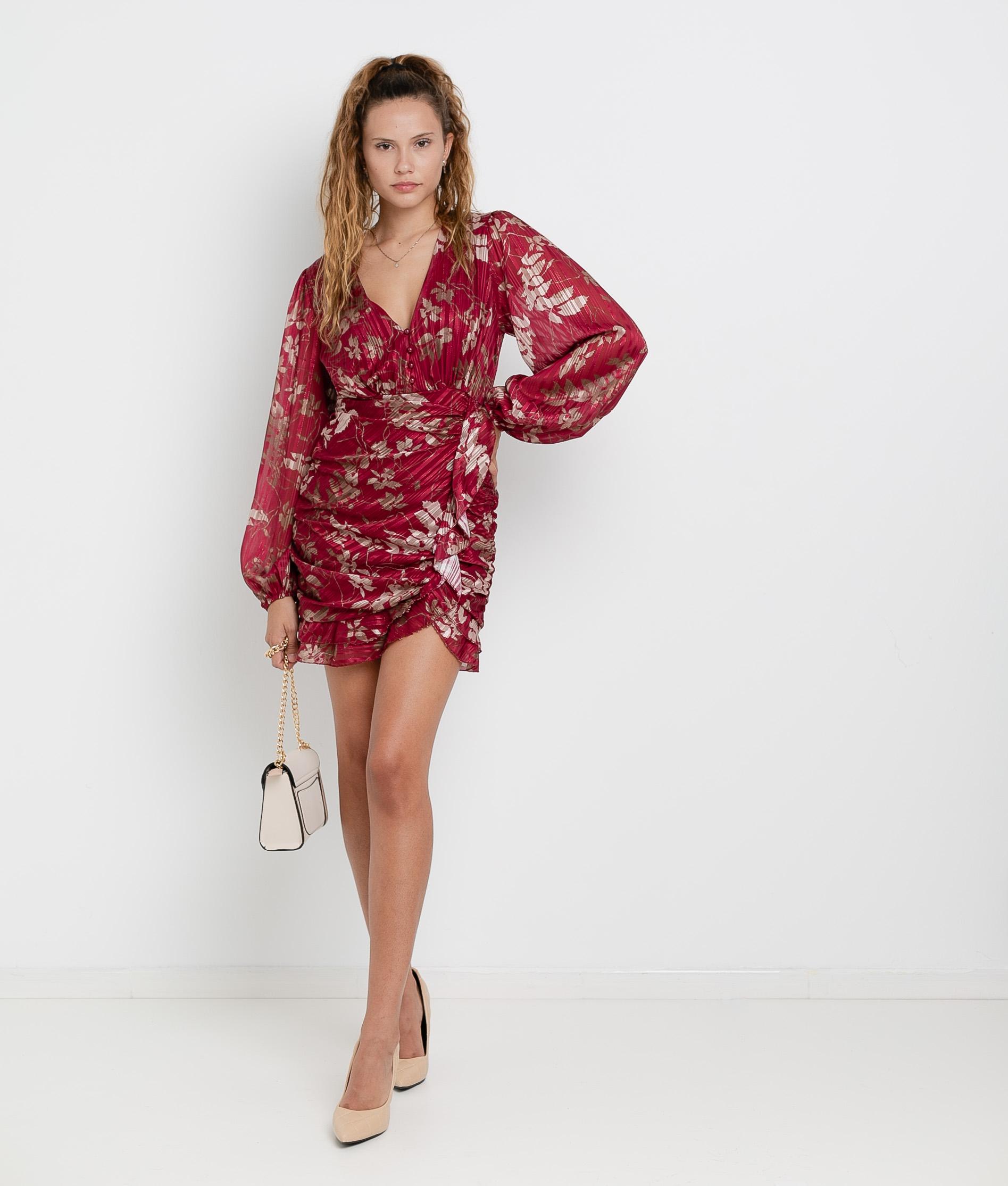 Vestido Ponge - Granate