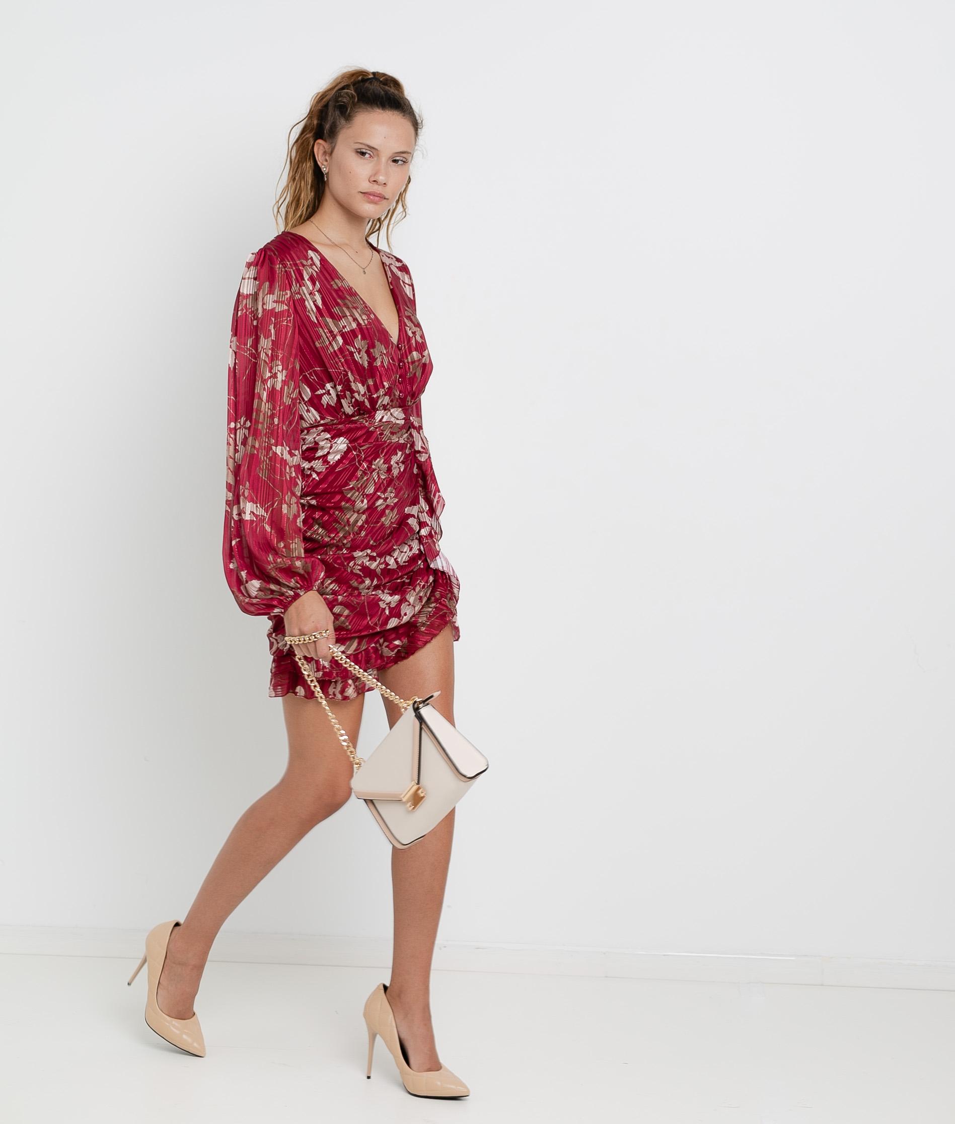Vestido Ponge - Grená
