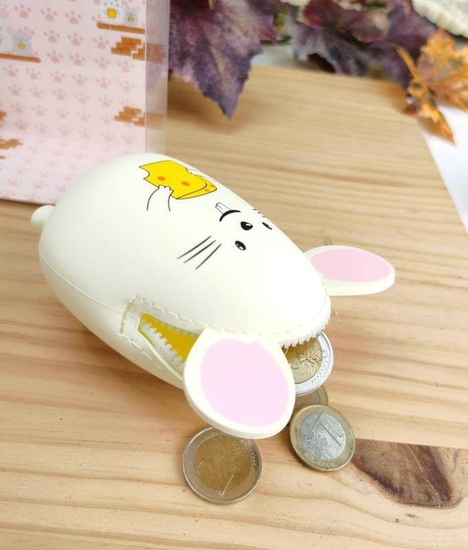 Monedero de silicona Raton - bianco