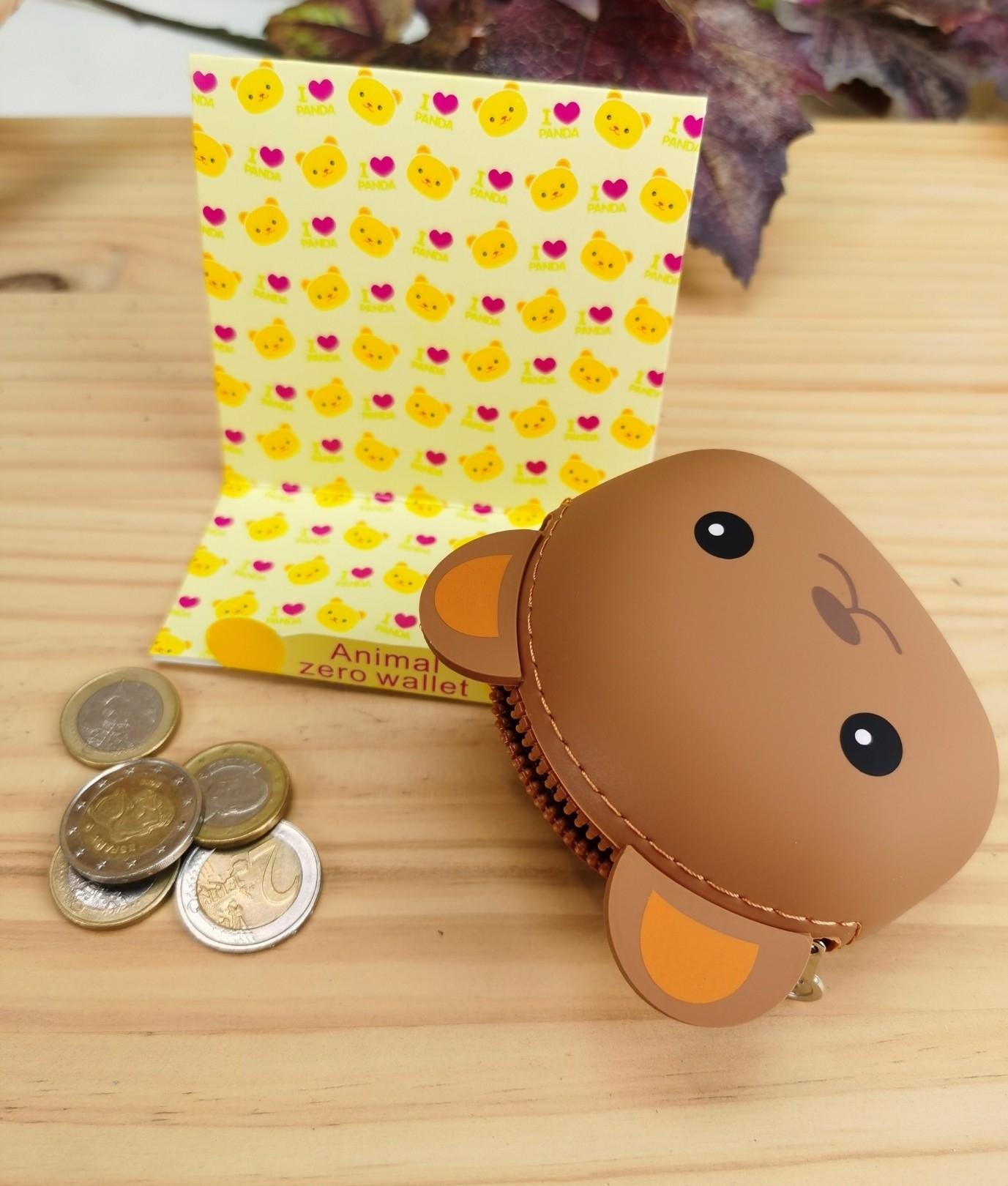 Monedero de silicona animal - marrone