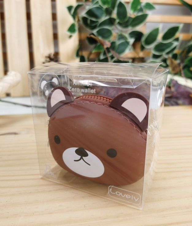 Monedero de silicona animal oso - marron