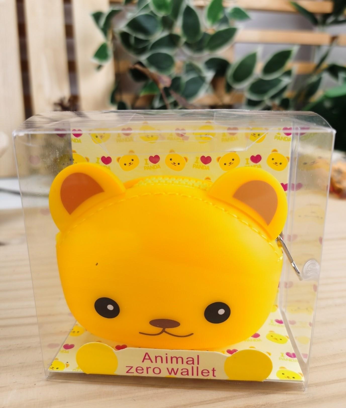 Monedero de silicona animal oso - amarelo