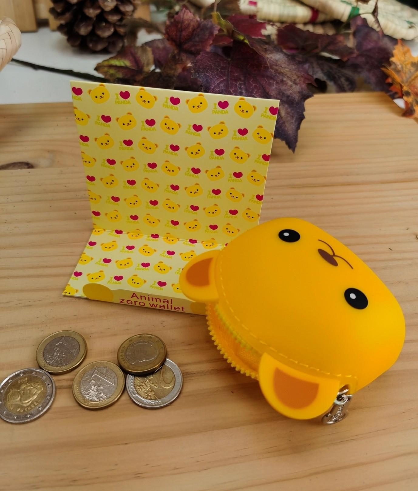 Monedero de silicona animal oso - amarillo