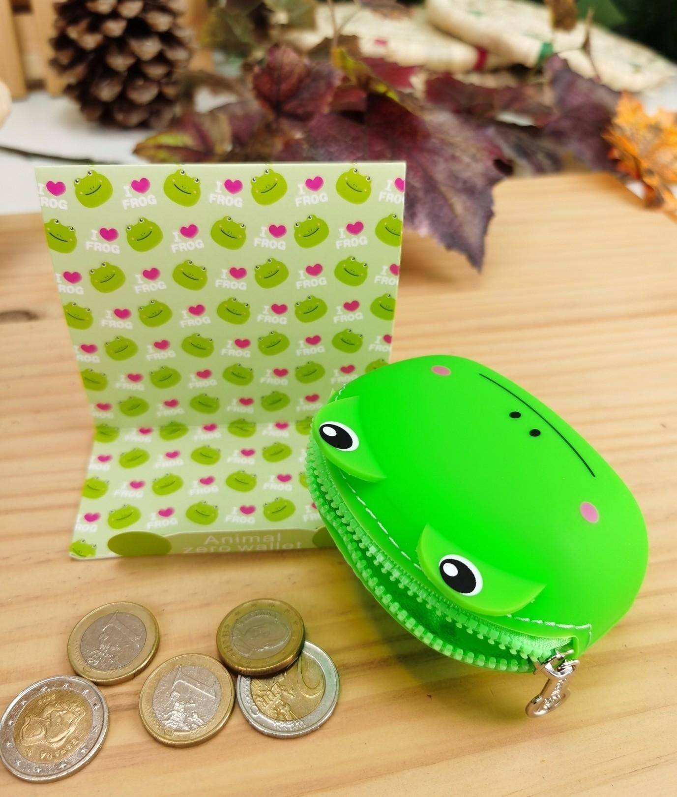 Monedero de silicona animal oso - verde