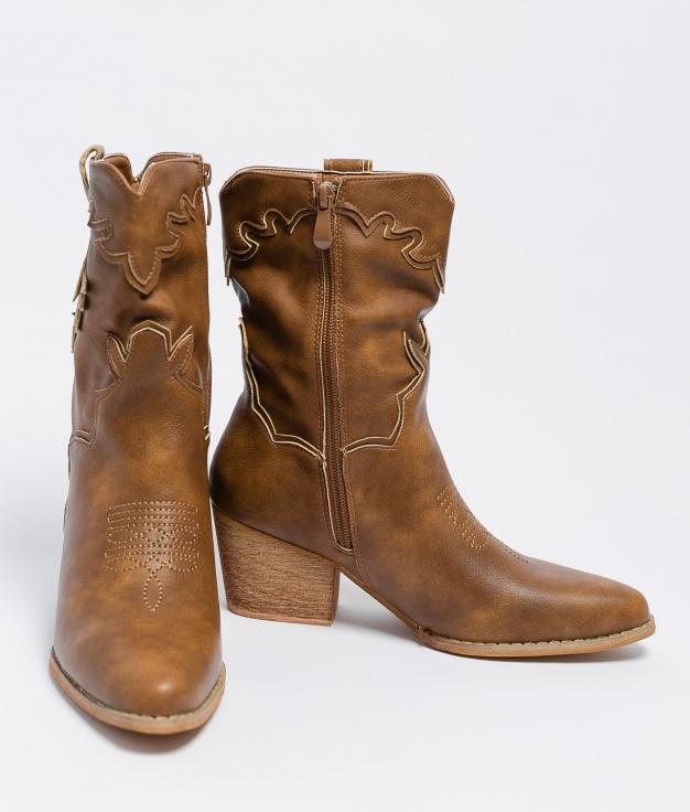 Low Boot Malia - Camel Leatherette