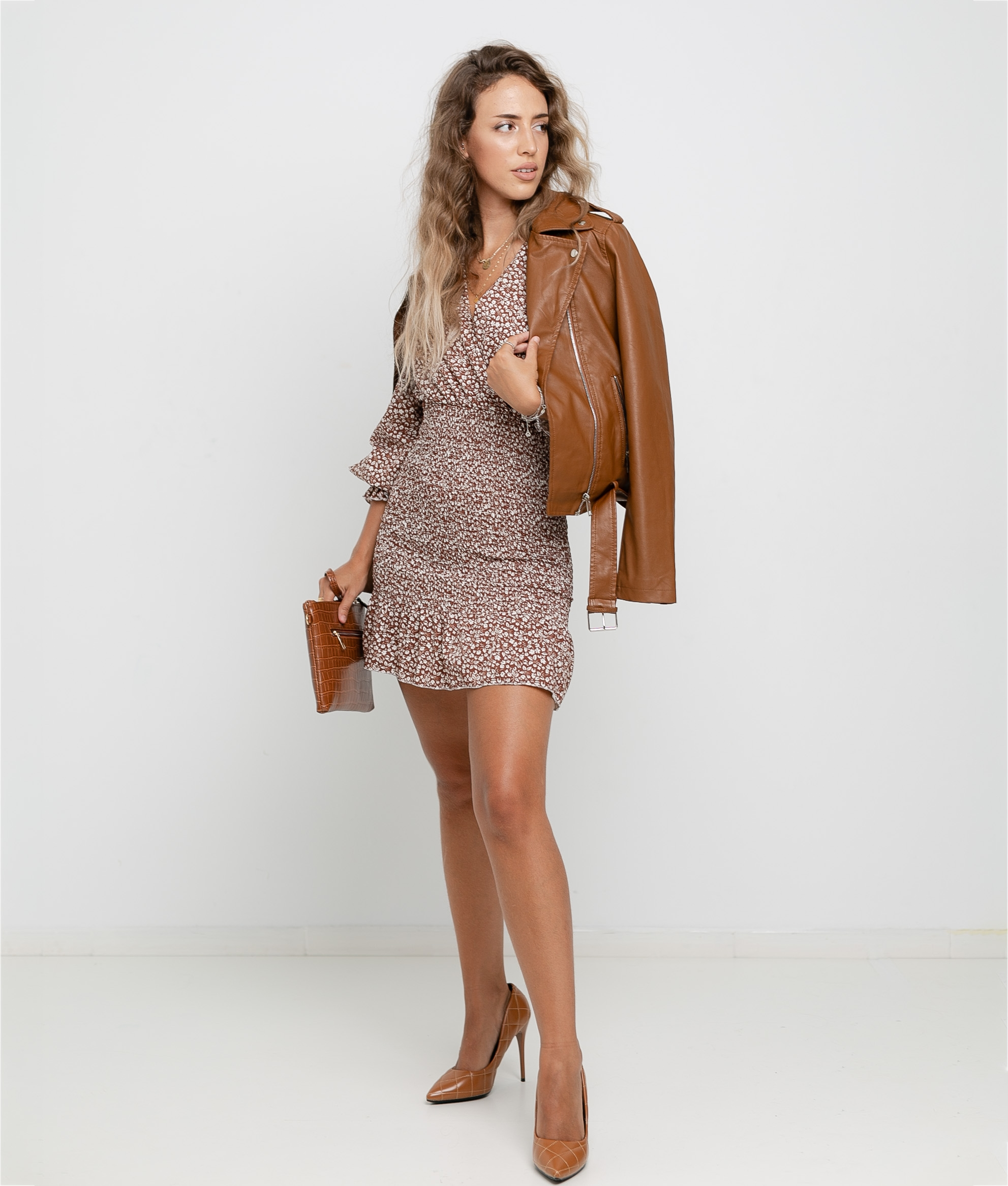 DRESS FLOSTI - BROWN