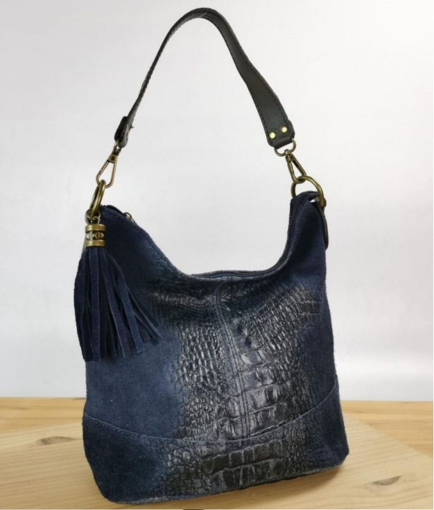 tracolla in pelle Pace - blu navy