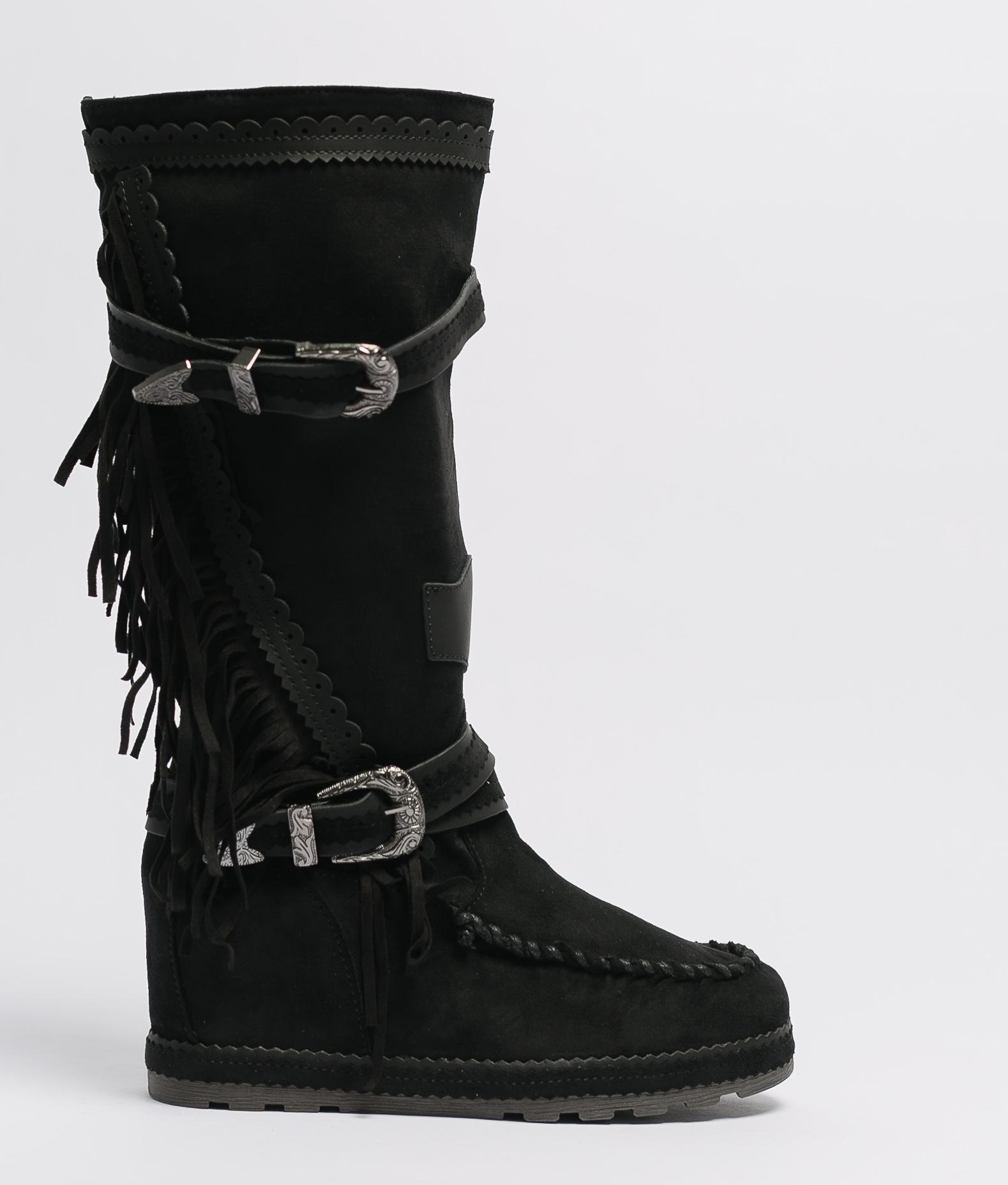 Knee-Length Indianini Boot Menia - Black