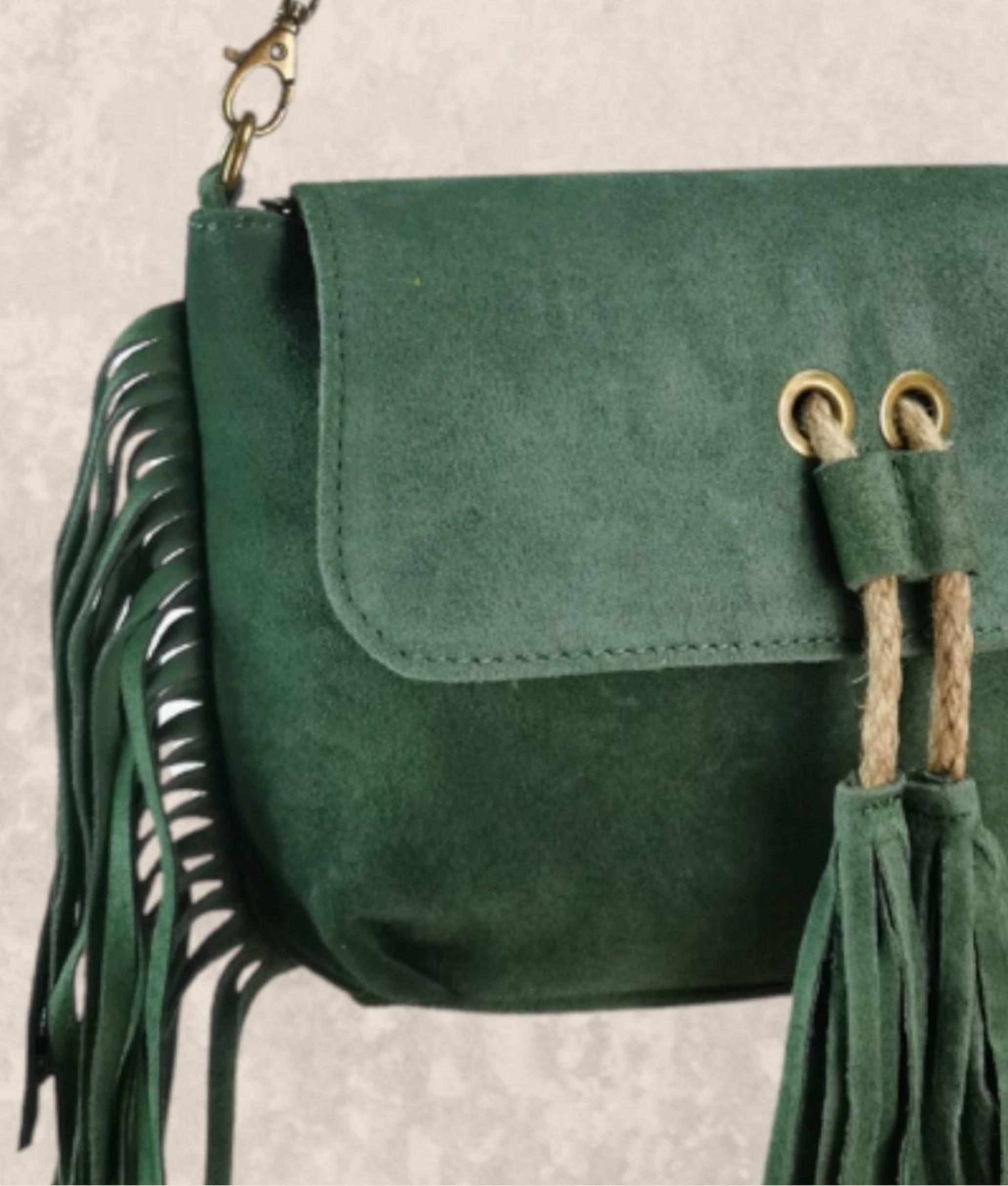 Bandolera de piel Leonardo - dark green