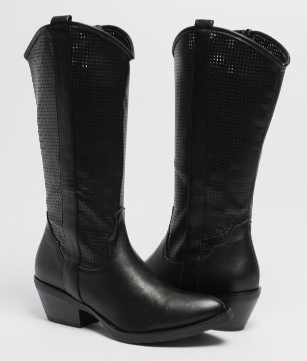 Plesia Knee-Length Boot - Black