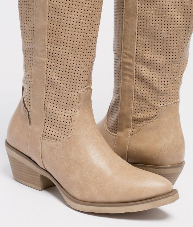 Plesia Knee-Length Boot - Beige