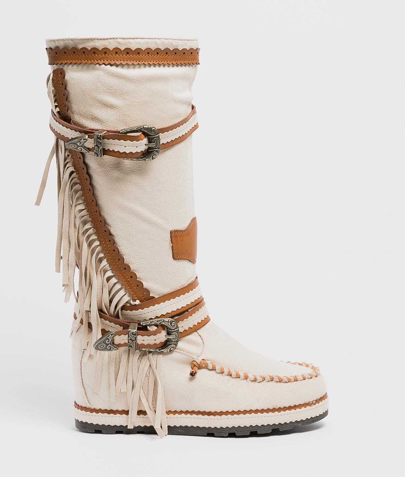 Knee-Length Indianini Boot Menia - Beige