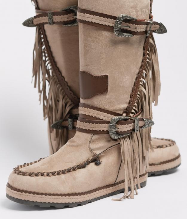Knee-Length Indianini Boot Menia - Khaki