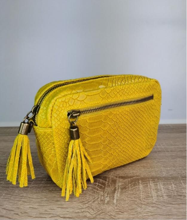 Bolso de piel Catena - amarillo