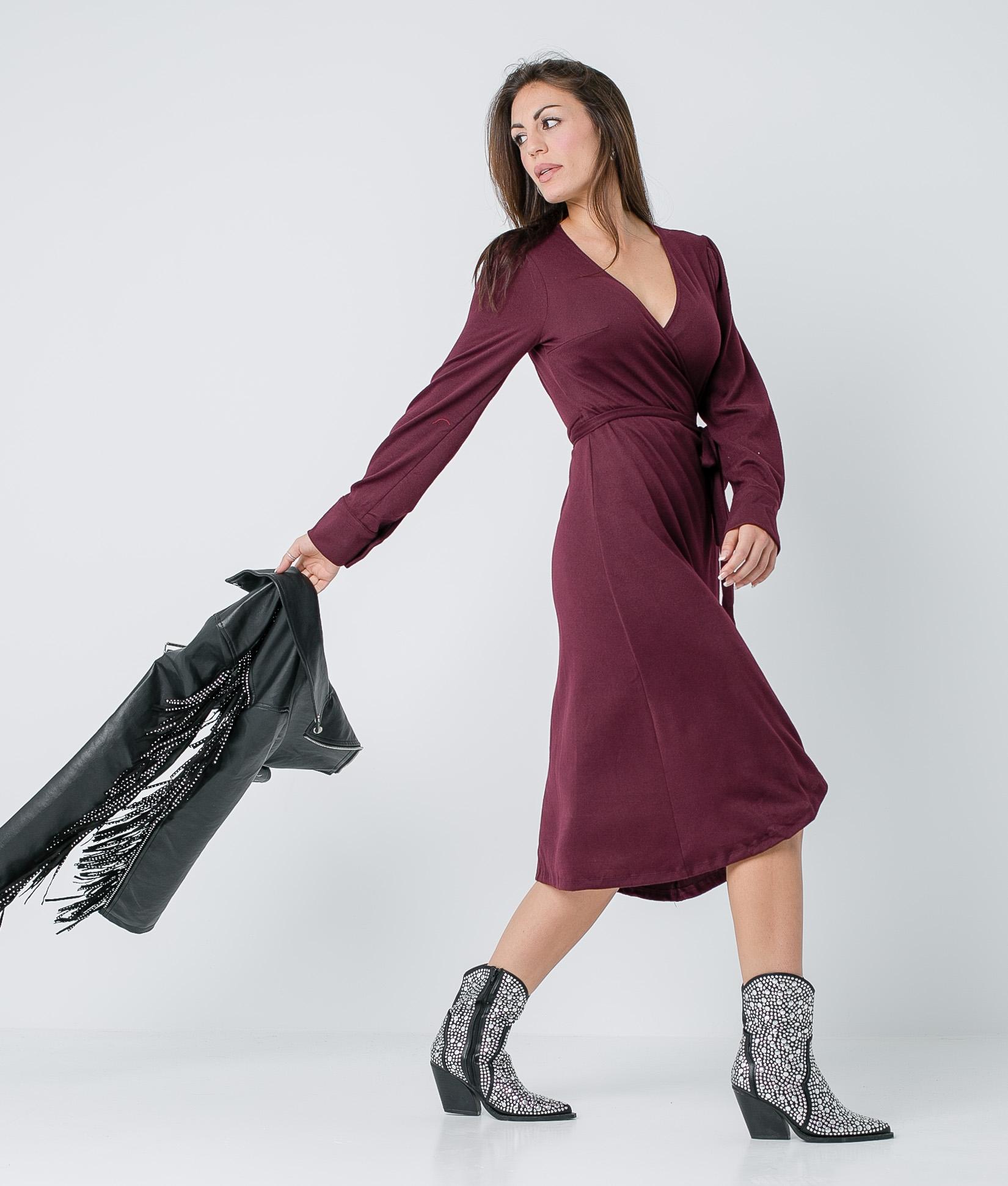 EVALY DRESS - MAROON