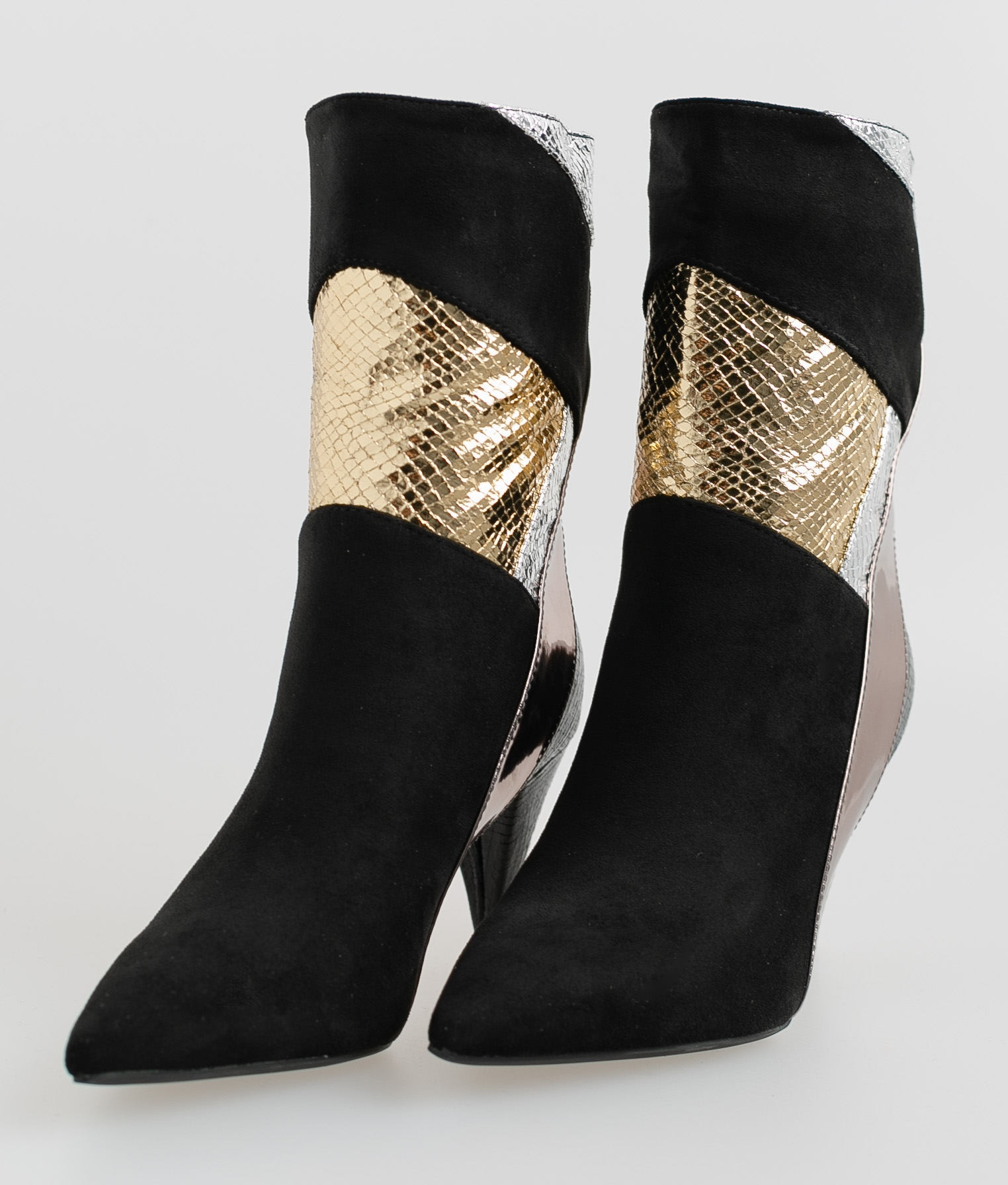 Corset Low Boot - Black/Gold