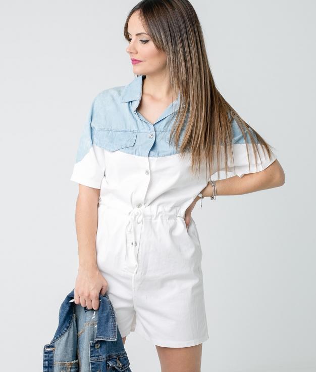 Salopette Treta - Blanc/Denim Claire