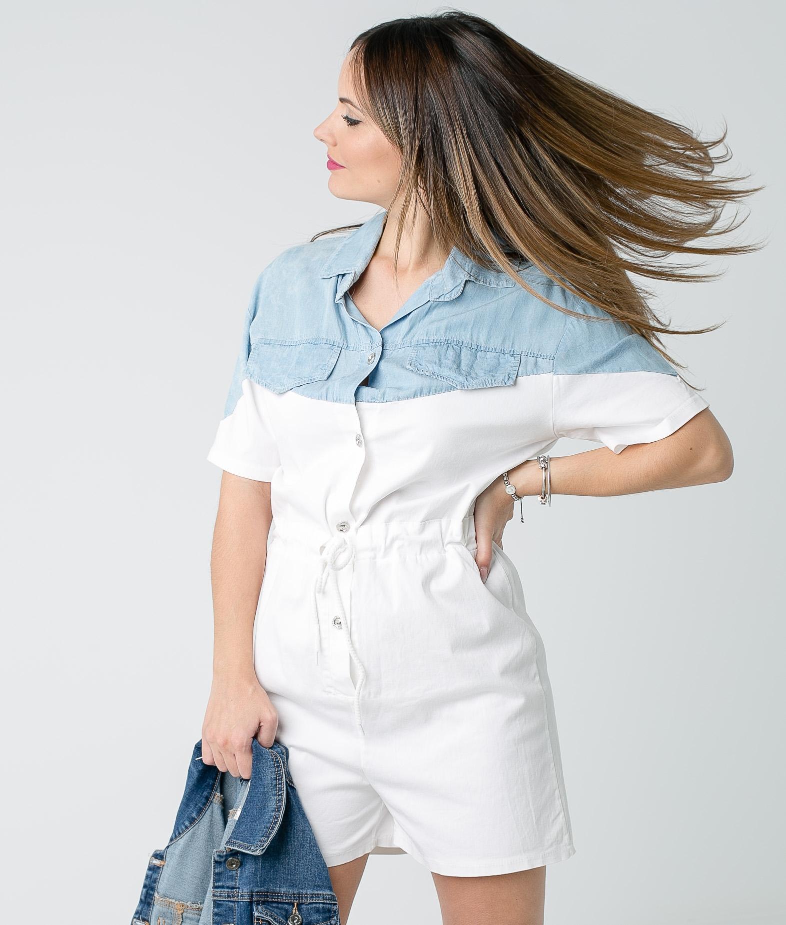 Treta jumpsuit - White/Light Denim
