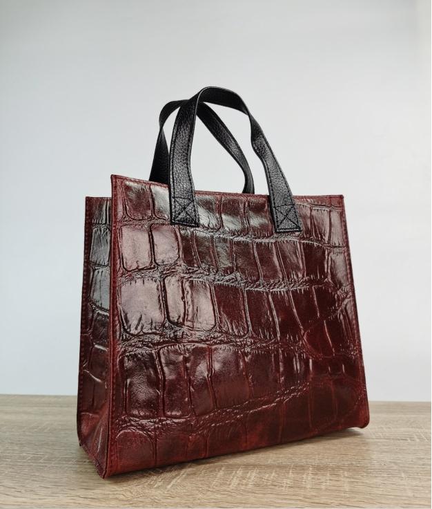 Bolso de piel Teresa - rosso scuro