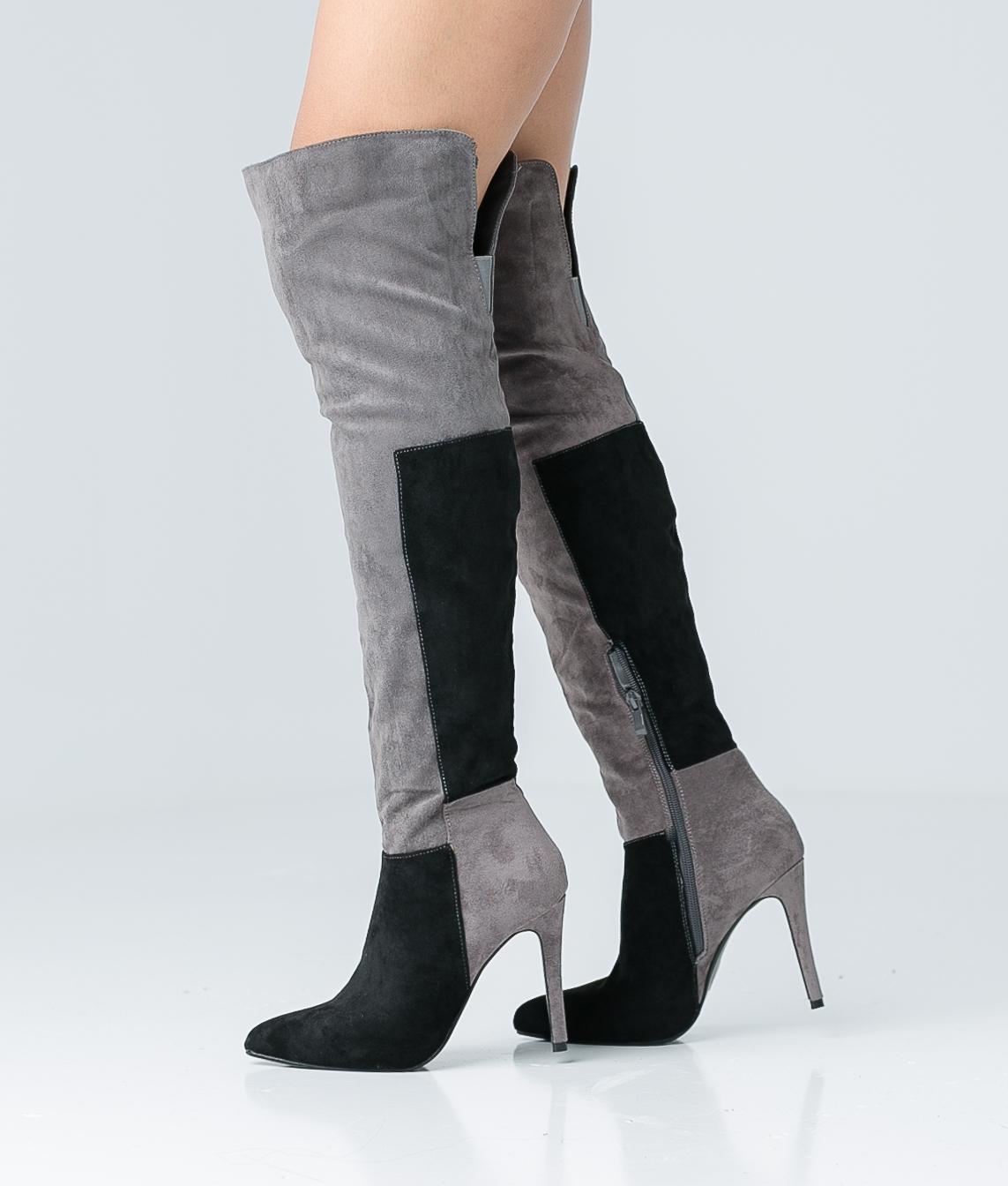 Knee-Length Boot Niela - Black/Grey