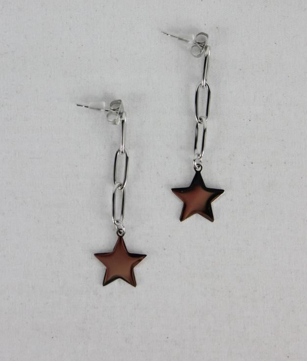 BOUCLE D'OREILLE STARS - ARGENT