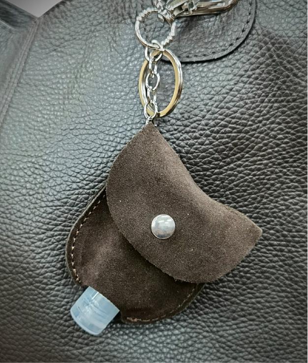 Porte-clés en cuir porte-gel - cafe