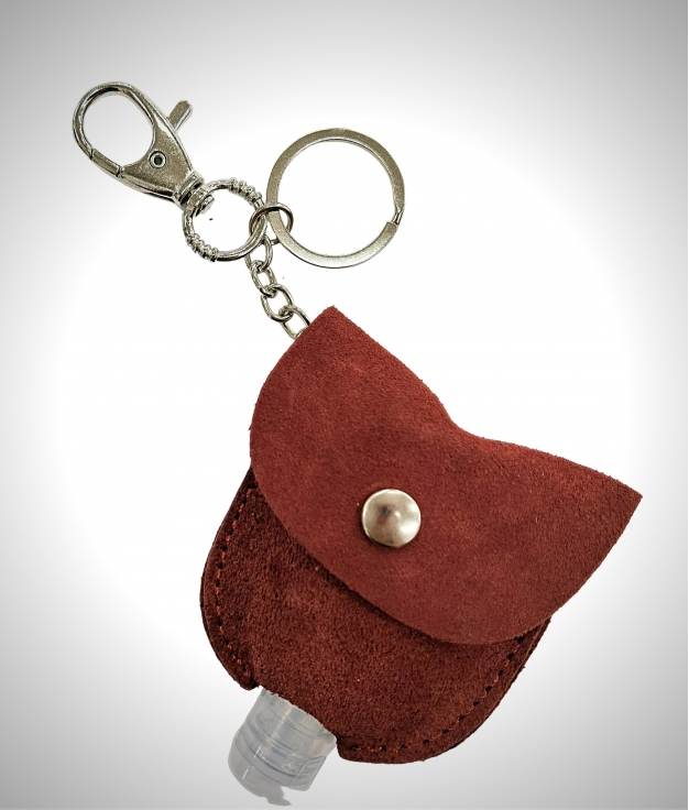 Gel-carrying leather keychain - red