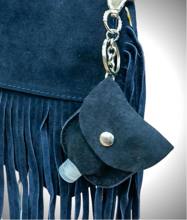 Porte-clés en cuir porte-gel - bleu
