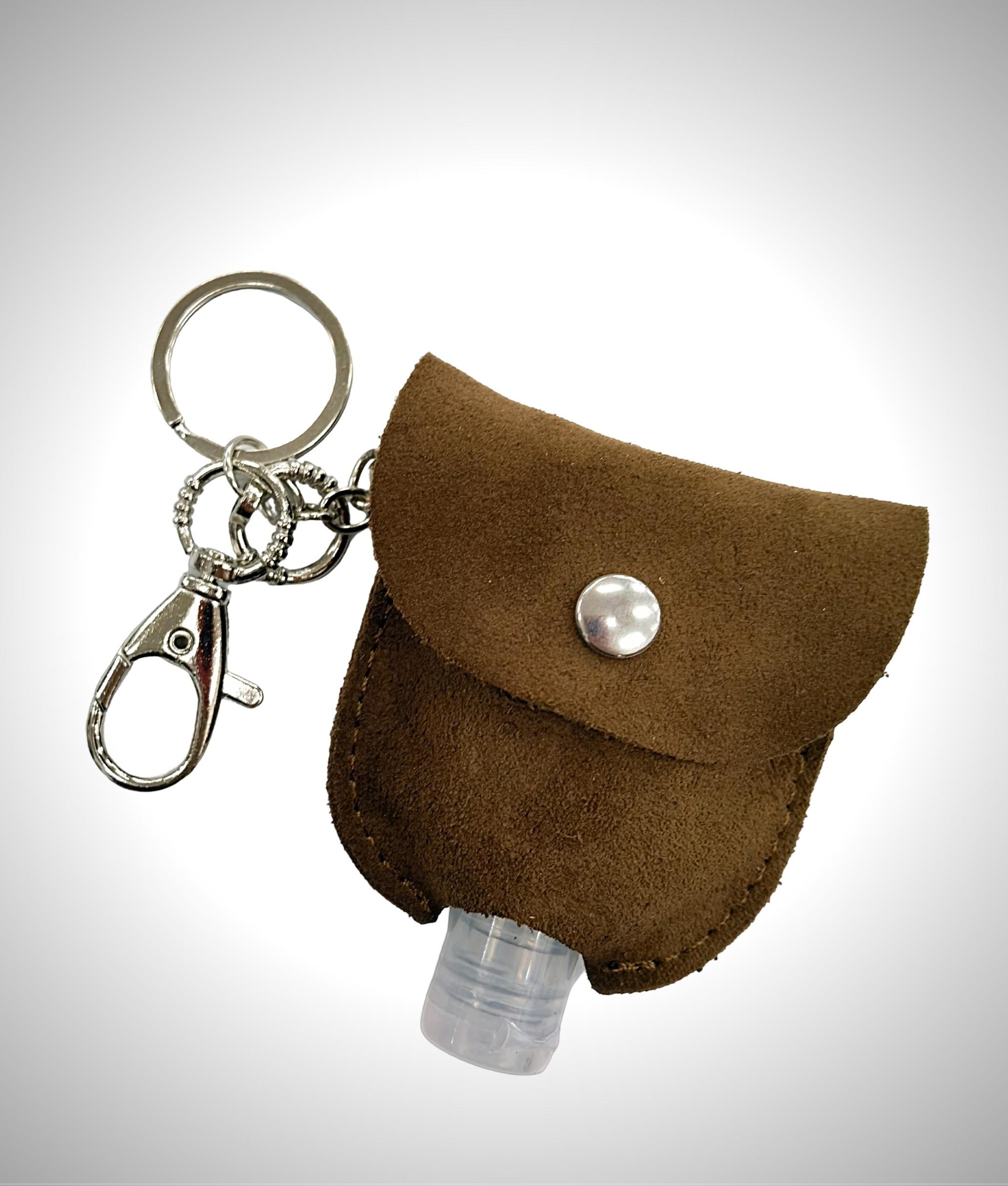 Porte-clés en cuir porte-gel - chameau