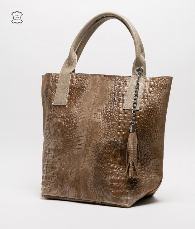 Bolsa de couro Elena - taupe