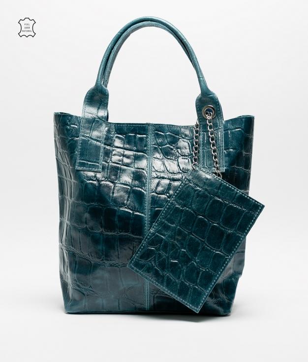 Bolsa de couro Elania - azul