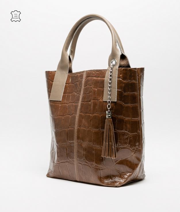 Bolsa de couro Elania - castanho