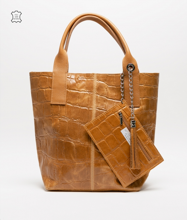 Bolsa de couro Elania - mostarda