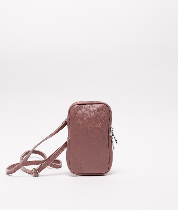 Bolsa de couro Ivana - rosa