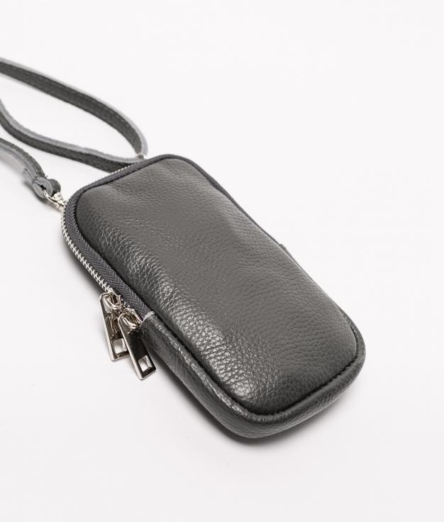 Bolsa de couro Ivana - cinzento