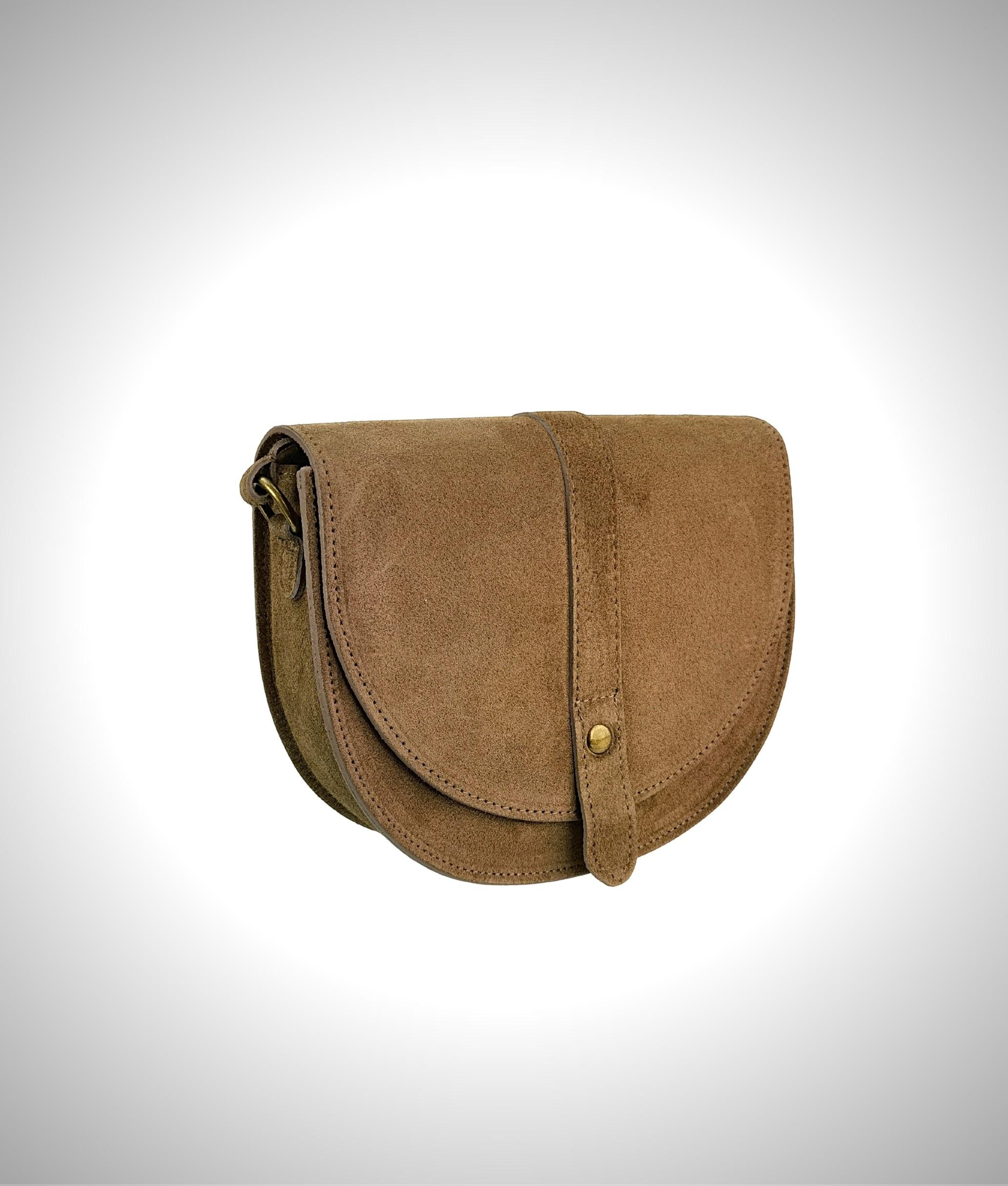 Leather crossbody bag Luna - taupe
