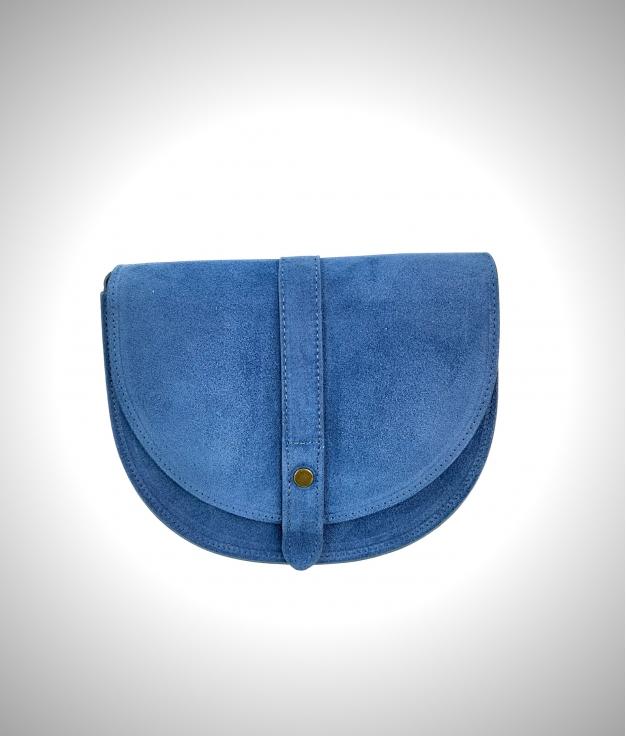 Tracolla Luna in pelle - blue jeans