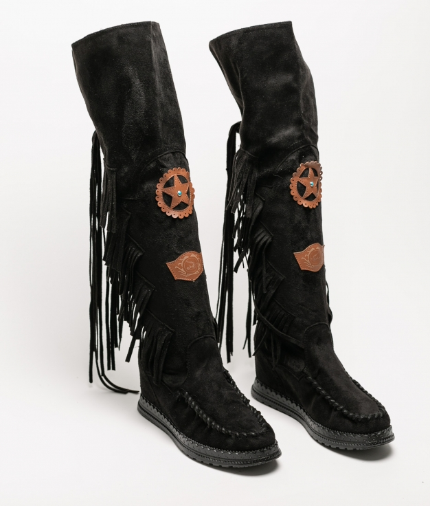 Knee-Length Indianini Boot Natek - Black