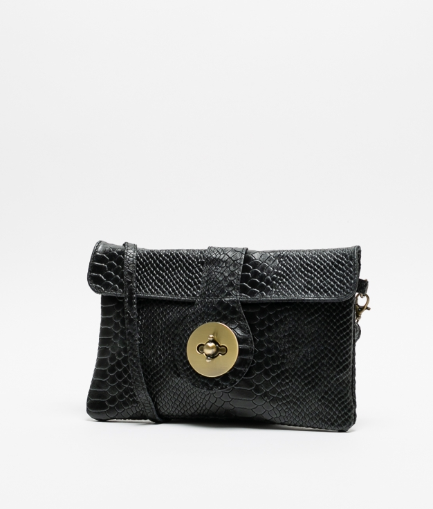 YUSI LEATHER BAG - BLACK