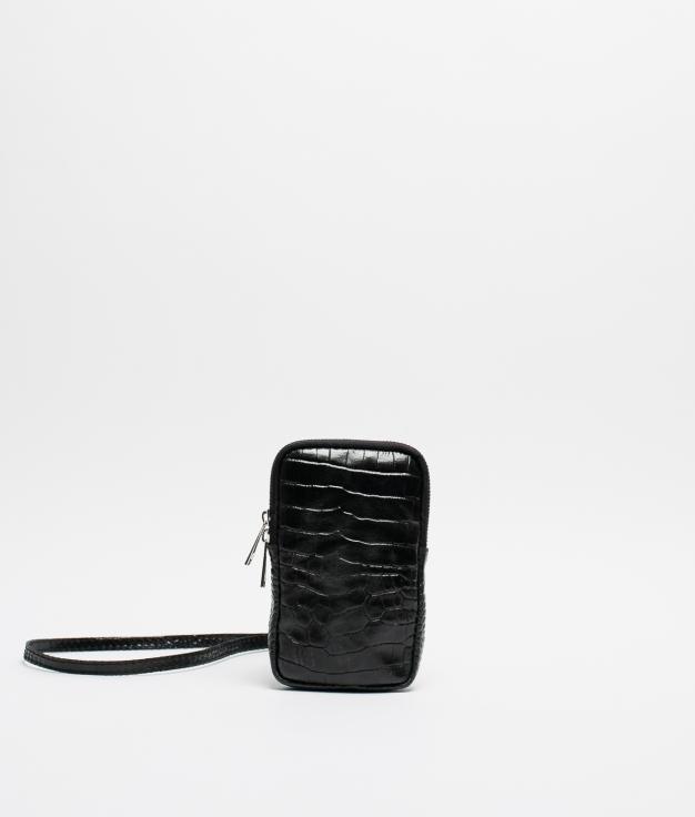 Bolso porta movil de piel Inas - negro