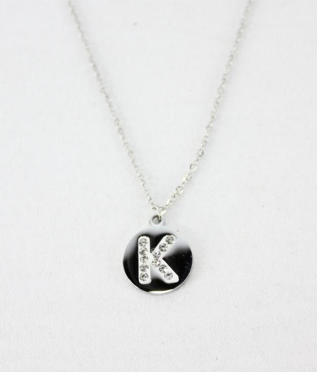 "COLLAR LETRA ""K"" - PLATEADO"